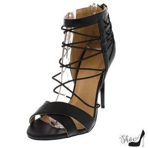 The Shoe Loft Shoes - Haze Black Strappy Cross Toe Stilettos
